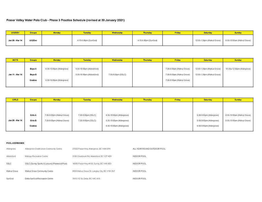 FVWP Session 3 Schedule - Jan 30- Mar 14