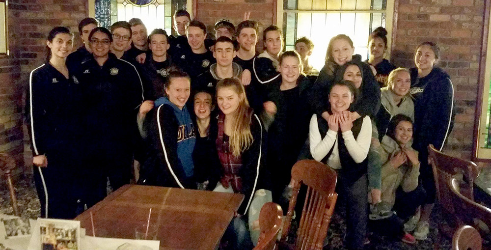 The NCL teams enjoying a team dinner (and each other's company!) at the Old Spaghetti Factory.