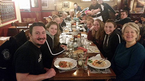 Valley girls team enjoying dinner
