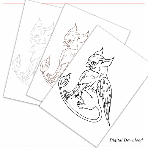 Cute Griffin | PDF Colouring Page in Black, Sepia, and Grey