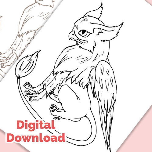 Cute Griffen PDF Colouring Page