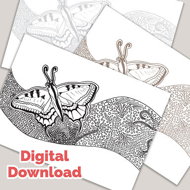 Common Butterfly Tangle PDF Colouring Page