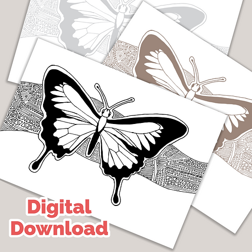 Butterfly Tangle PDF Colouring Page