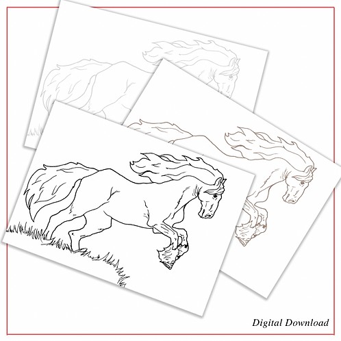 Friesian Horse | PDF Colouring Page in Black, Sepia, and Grey