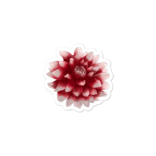 Red and White Dahlia Vinyl Bubble-free sticker