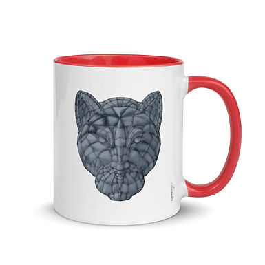 Glass Panther Mug with Color Inside