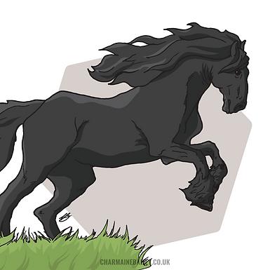 Leaping Friesian Horse Print