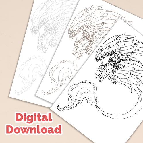 Feathered Dragon PDF Colouring Page