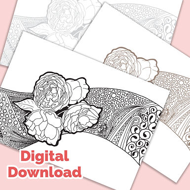 Roses Tangle PDF Colouring Page