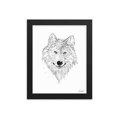 Wolf Sketch FRAMED Semi-Glossy Giclée Art Print
