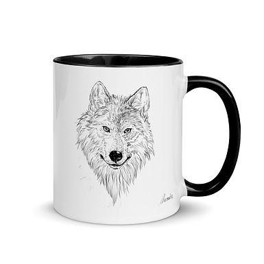 Wolf Ceramic Mug with Color Inside