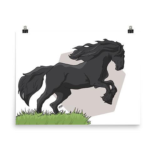 Friesian Horse Giclée Art Print