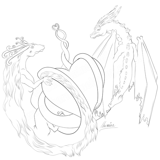 Valentine Dragons Free Colouring Page