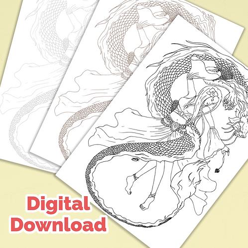 Dragon Dancer PDF Colouring Page