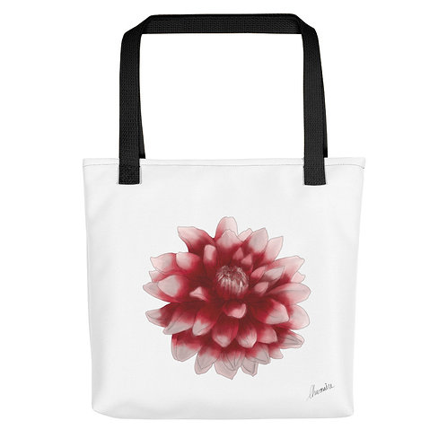 Red and White Dahlia Tote bag