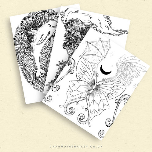 Luck Dragon | PDF Colouring Page in Black, Sepia, and Grey
