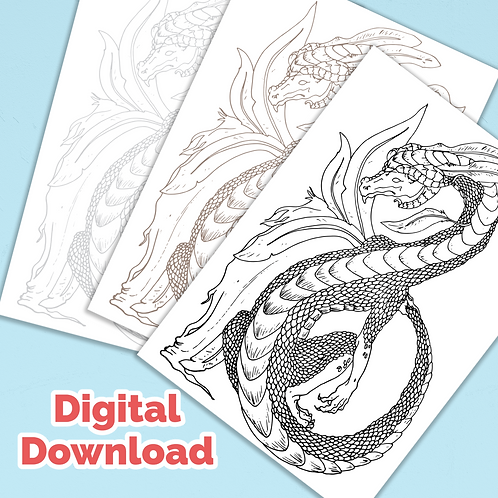 Ground Dragon PDF Colouring Page