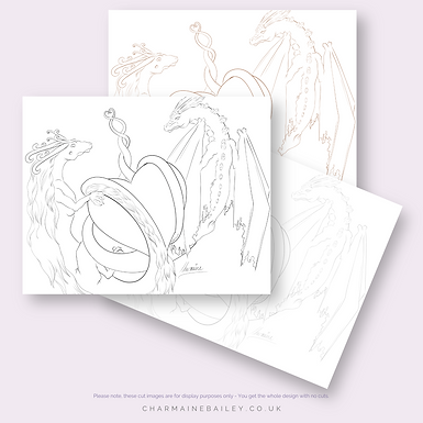 Valentine Dragons | PDF Colouring Page