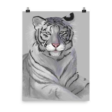 Majestic White Tiger Giclée Art Print