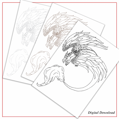 Feathered Dragon | PDF Colouring Page in Black, Sepia, and Grey