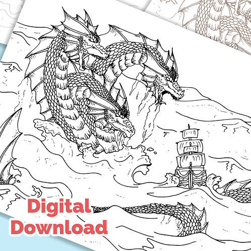 Three Headed Sea Dragon PDF Colouring Page