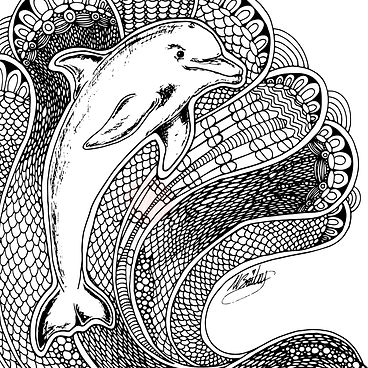 Dolphin Tangle Lineart for Freebie Friday!