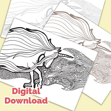Unicorn Tangle PDF Colouring Page