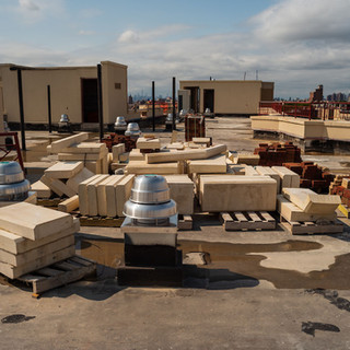 Construciton supplies on rooftop at Bronxview