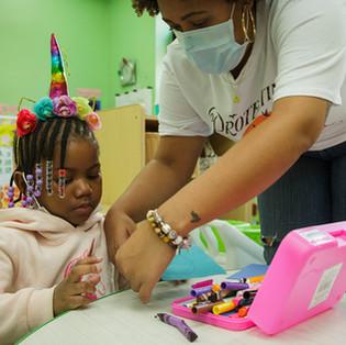 Child and teacher