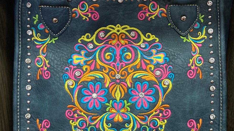 Blue Leather Concealed Carry Purse with Dia de los Muertos Skull