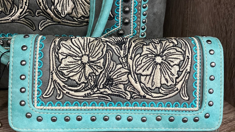 Grey and Blue Flowered Matching Leather Wallet