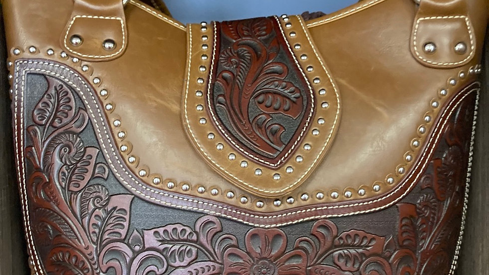Brown Leaves Pattern Leather Concealed Carry Purse