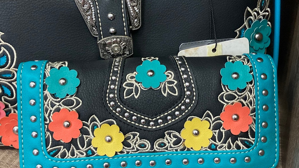 Matching Black with Multi Color Flower Accents Wallet