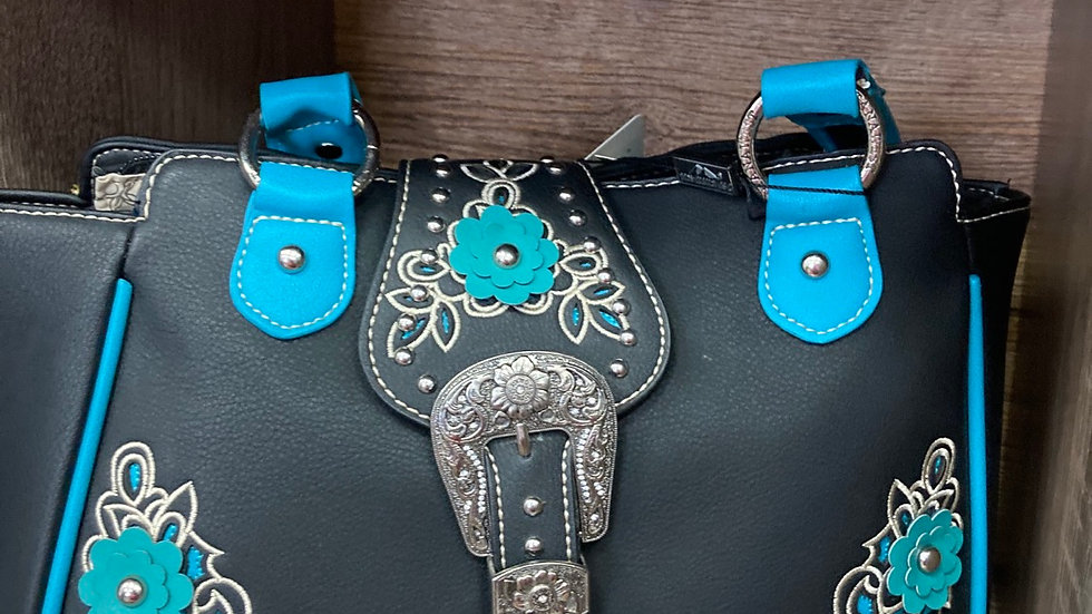 Black Leather with Multi Colored Flowers Concealed Carry Purse