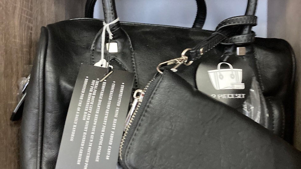 Black Leather Concealed Carry Tote with attached Wallet