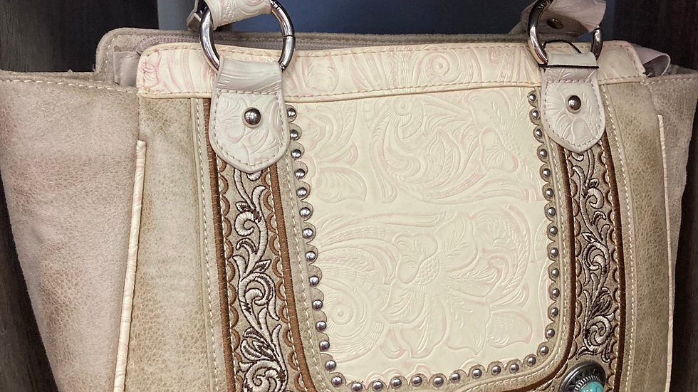 Creme with Swirled Pattern with Jade Accents Concealed Carry Purse