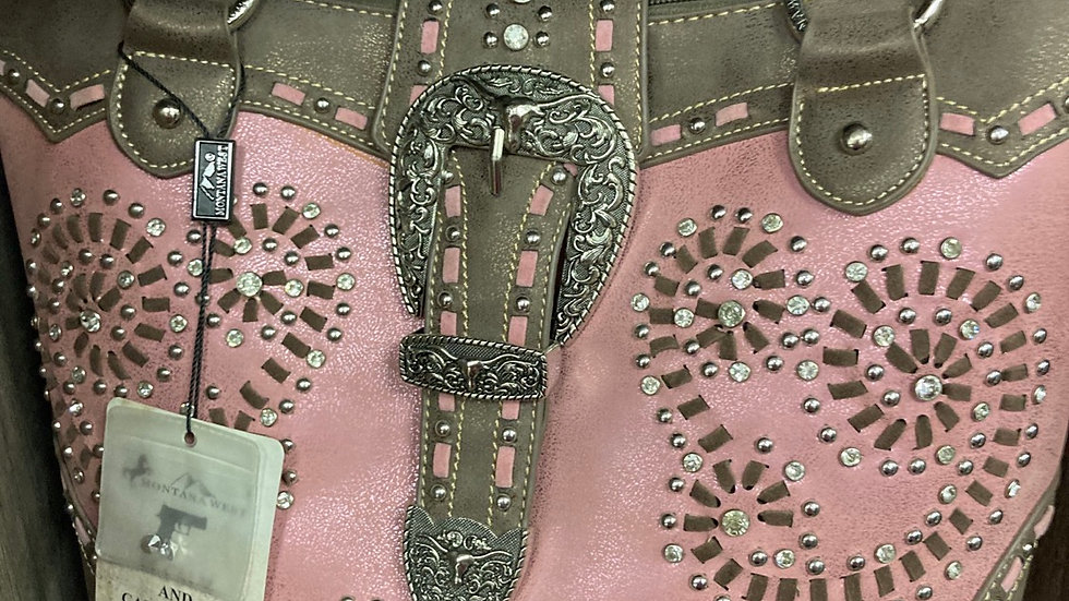 Pink Belted Swirls and Studs Concealed Carry Purse