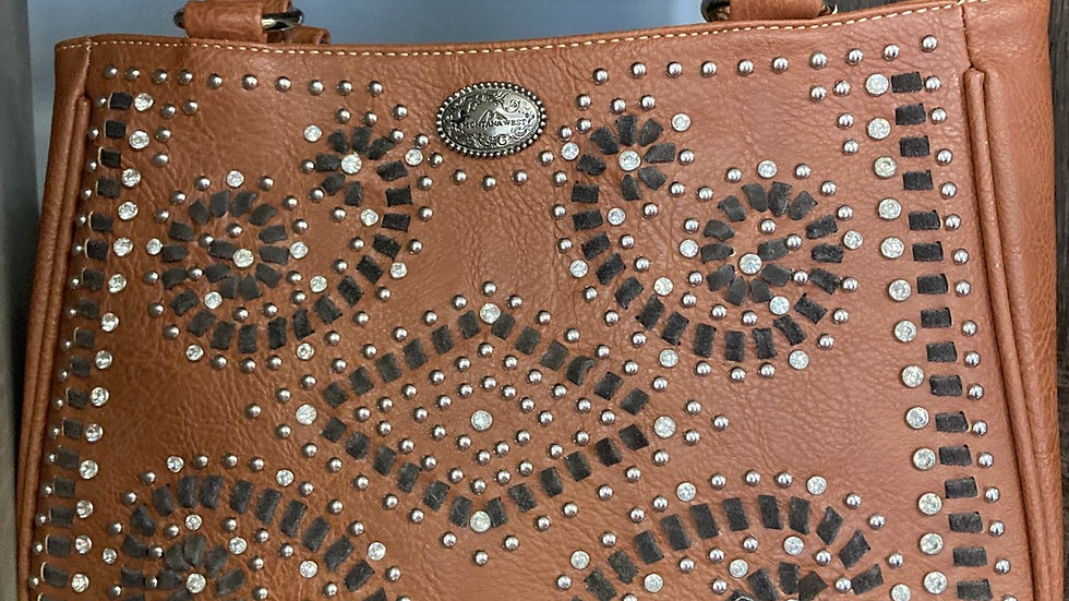 Brown Studded Swirls Concealed Carry Purse