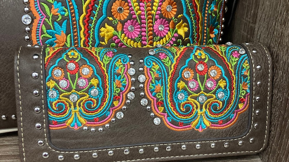 Matching Brown Leather Wallet with Colorful Pattern