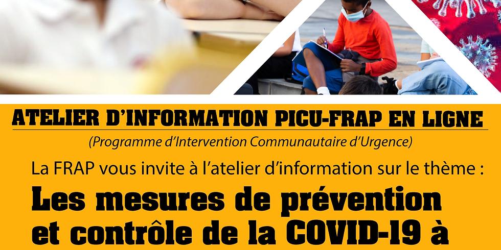 ATELIER D'INFORMATION EN LIGNE  - PICU FRAP  : Les mesures de prévention et de contrôle de la COVID-19