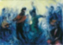 Flamenco, gitans, guitares, jaune et bleu