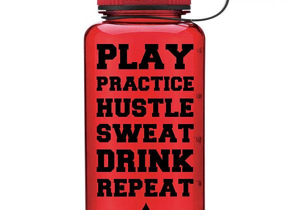 Athlete Water Bottle - Play Practice Hustle Sweat Water Bottle