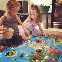 Animals on World puzzle