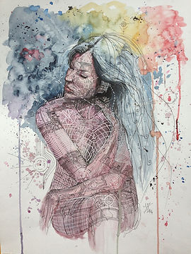 watercolor portrait, modern watercolor, aquarelle contemporaine, aquarelle paris