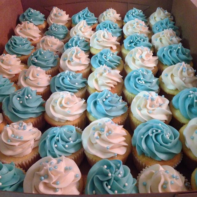 Blue & White Baby Boy Cupcakes
