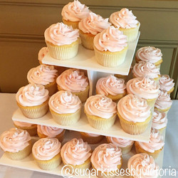Blush Strawberry Filled Vanilla Cupcakes