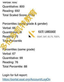 SSAT备考培训高分学员成绩|SSAT考试