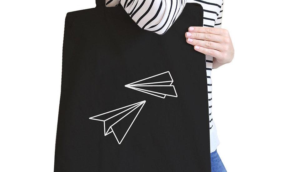 Paper Airplane Black Canvas Tote Bag