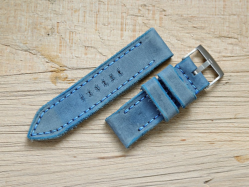 Lederband blau 26mm
