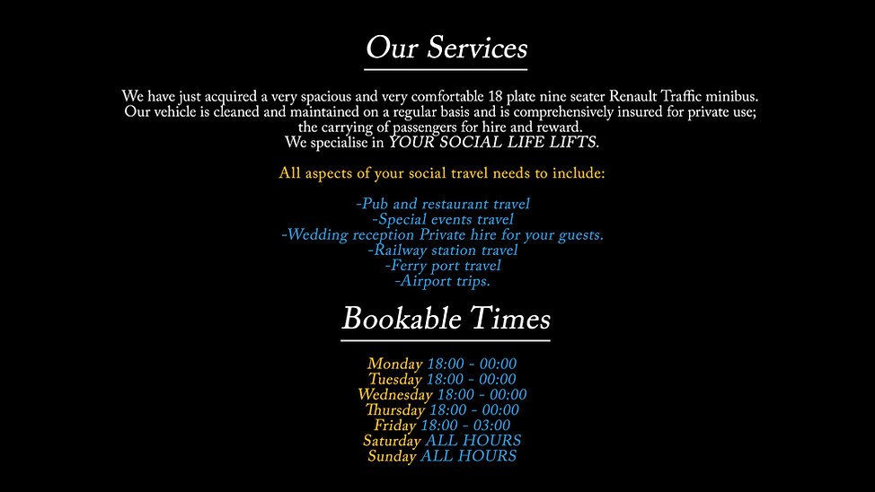 Booking times for Alresford Town Private Hire Ltd.